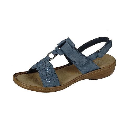 Rieker Damen Sandale mit Klettverschluss in jeans blau
