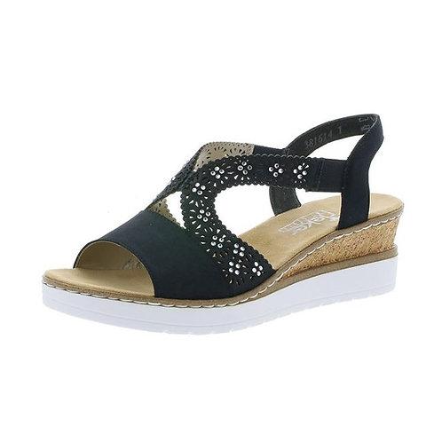 Rieker Damen Sandalette Pumps mit Gummizug in schwarz
