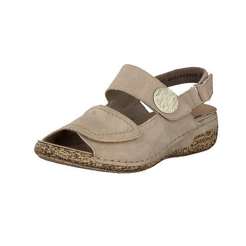 Rieker Damen Sandale mit Klettverschluss in beige