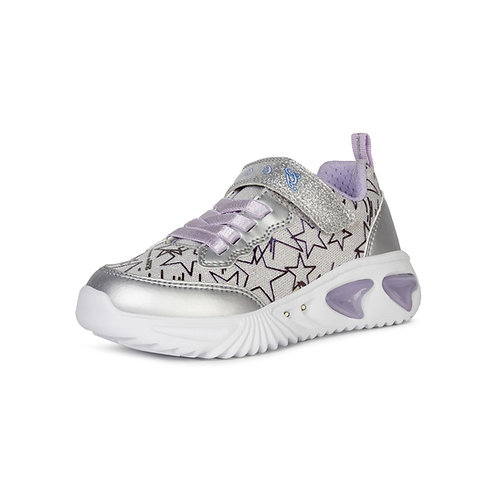 Geox Kinder Sneakers Blinkies J ASSISTER GIRL in Silver/Lila