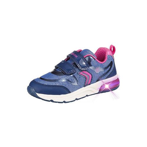 Geox Kinder Sneaker Sneakers Low Blinkies SPACECLUB GIRL in blau/rosa