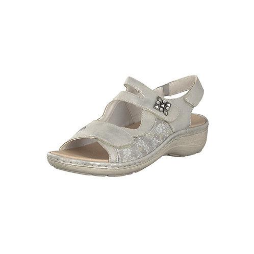 Remonte Damen Sandale mit Klettverschluss in silber