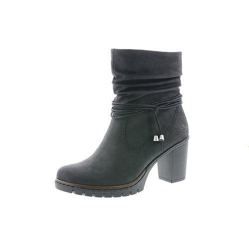 Rieker Damen Schnürstiefelette mit Reißverschluss in schwarz