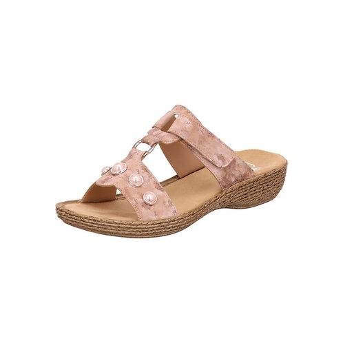 Rieker Damen Sandalette in rosa mit Klettverschluss