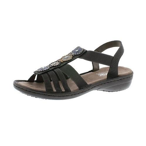 Rieker Damen Sandalette mit Gummizug in basalt