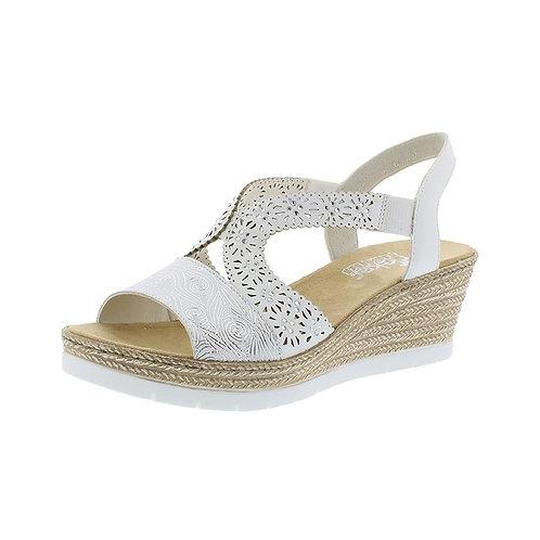 Rieker Damen Sandalette in weiss-silber/weiss