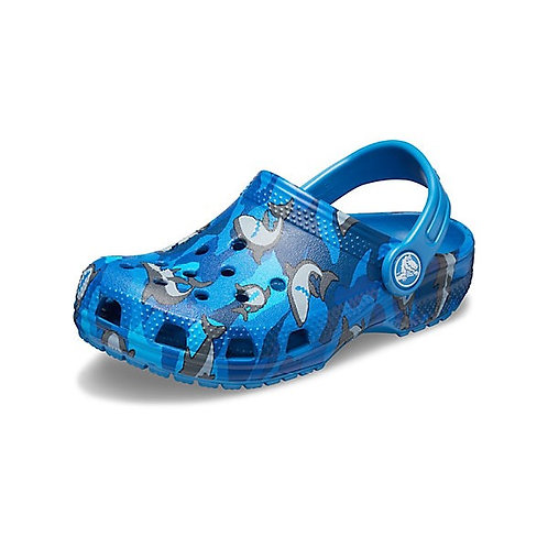 Crocs Kids Classic Shark Clog in Prep Blue
