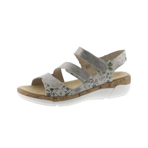 Remonte Damen Sandale mit Klettverschluss in beige-metallic/Perle