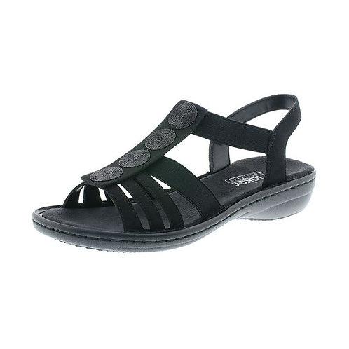 Rieker Damen Sandalette mit Gummizug in schwarz