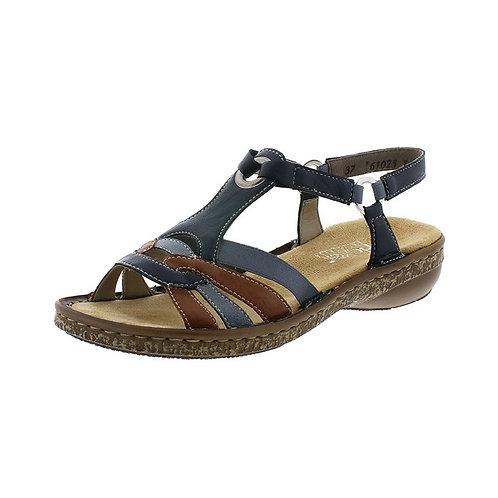 Rieker Damen Sandalette in pazifik/cayenne/adria