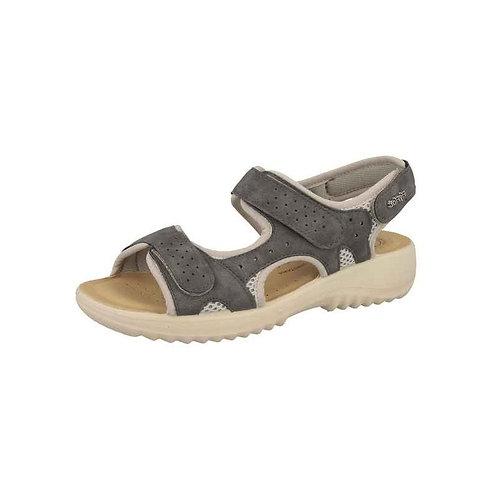 FlyFlot Damen Bequeme Sandalette mit Klettverschluss in grau/komb