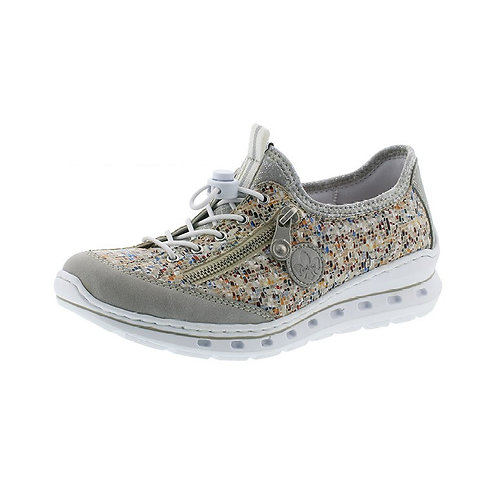 Rieker Damen Sneaker in cement/pebble-multi/silverflower
