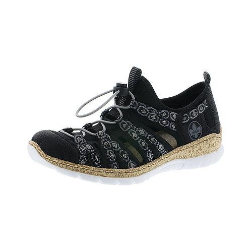 Rieker Damen Sandalette in schwarz/schwarz-grau