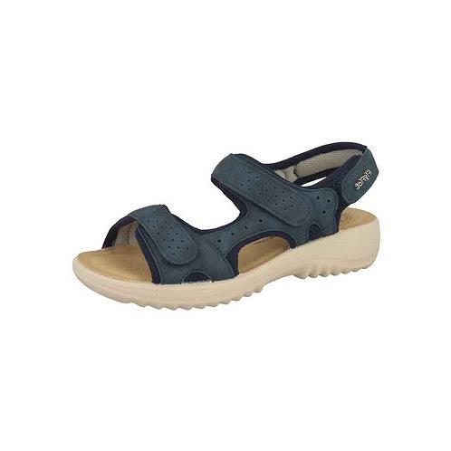FlyFlot Damen Bequeme Sandalette mit Klettverschluss in blau