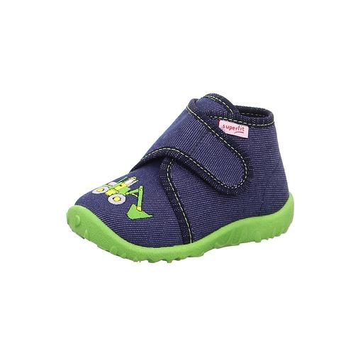 Legero Kinderhausschuh Halbhoch Spotty blau-grün Atmungsaktiv mit Luftlöchern