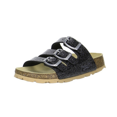 Superfit Hausschuh Fußbettpantoffel (Schwarz Kombi)