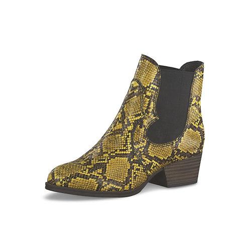 Tamaris Chelsea Boot mustard snake