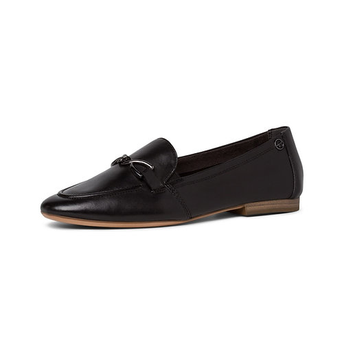 Tamaris Ballerina Slipper in Black Leather (Schwarz)