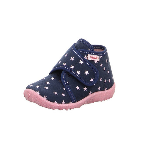 Superfit Kinderhausschuh Spotty blau Atmungsaktiv rosa Sterne