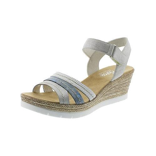 Rieker Damen Sandalette in white-silver/heaven