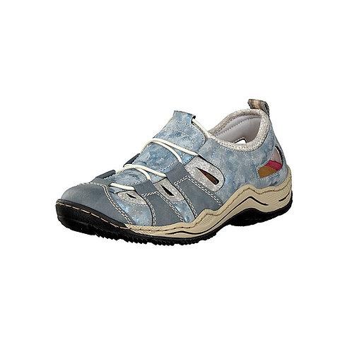 Rieker Damenslipper Sandale mit Gummizug in blau