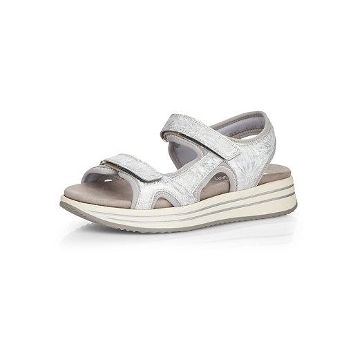 Remonte Damen Sandale mit Klettverschluss in hellgrau/lightgrey/ice/bianco