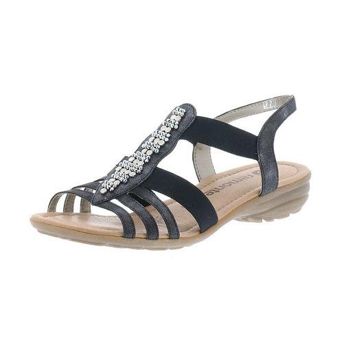 Remonte Damen Sandale mit Gummizug in graphit/schwarz Extra-Weit