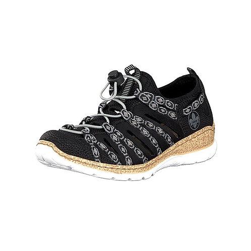 Rieker Damenslipper Sandale mit Gummizug in schwarz