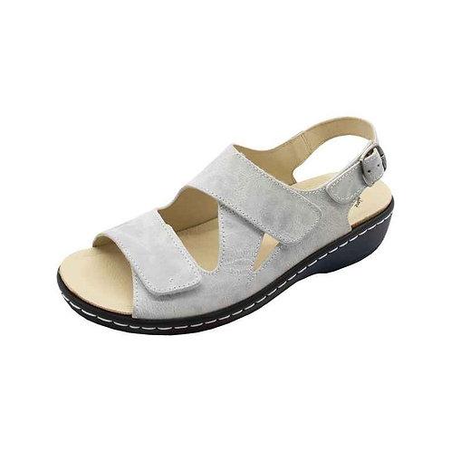 Doc Comfort Damen Bequemschuh Sandalette mit Klett und Schnalle in eis-weiss