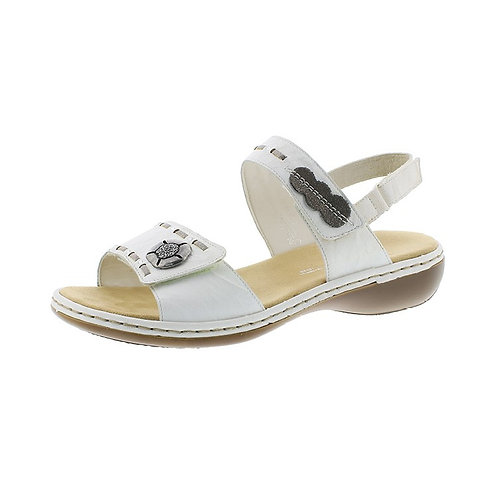 Rieker Damen Sandale mit Klettverschluss in weiss/grey/altsilber/bianco