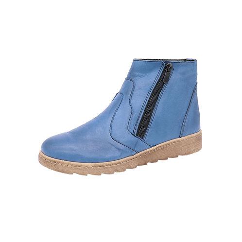 Doc Comfort Damen Stiefel mit Reißverschluss in Marine Blau