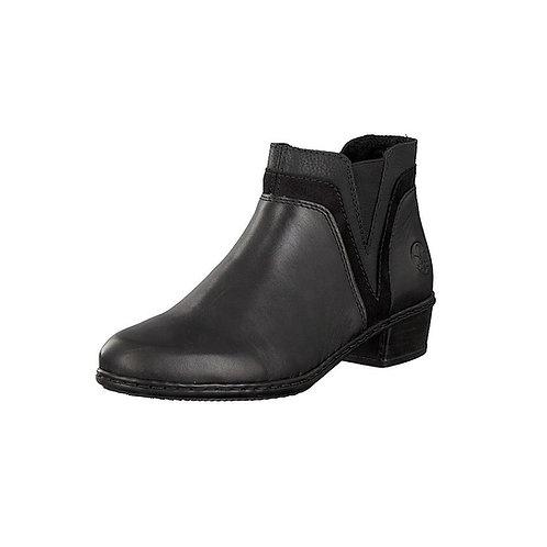Rieker Damen Stiefelette mit Reißverschluss in schwarz
