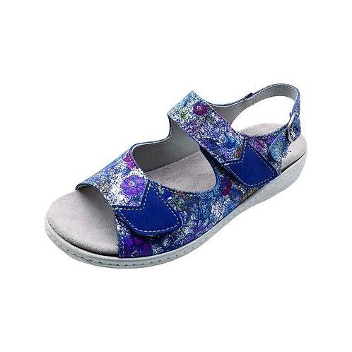 Doc Comfort Damen Bequemschuh Sandalette mit Klettverschluss in blau/k