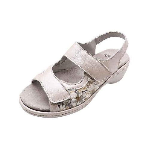 Doc Comfort Damen Bequemschuh Sandalette mit Klettverschluss in taupe