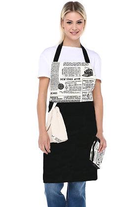 Gazete Mutfak Önlük Takımı-Siyah