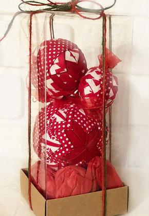 LAL SERİSİ - 1 / Kapitone yılbaşı topu - Quilted Ornaments