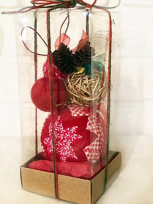 LAL SERİSİ - 2 / Kapitone yılbaşı topu - Quilted Ornaments