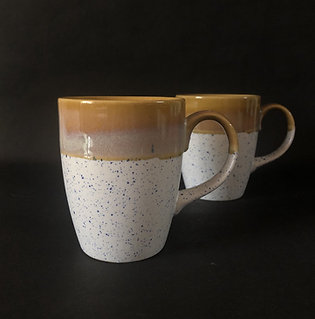 PotteryDen White and Golden Brown Coffee Mug - Set of 2