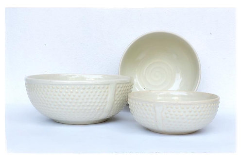 Summer Cool Egg Shell White Pastel Serving Bowl Set of 3