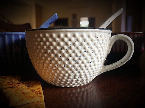 Casual White Dot Soup Cup with Spoon