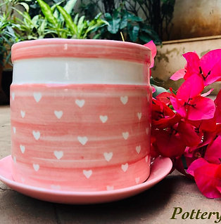 Signature Pink Hearts Indoor Planter With Plate
