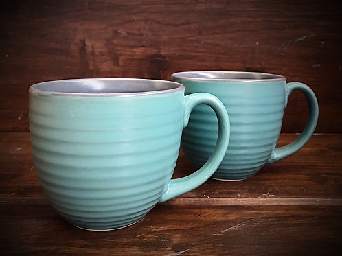 Green Rustic Coffee Mug - Set of 2