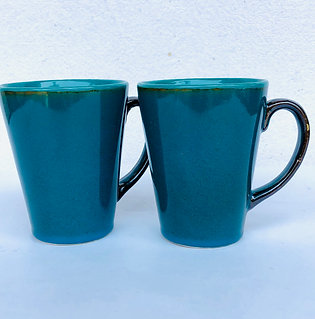 PotteryDen Coffee Time Mug Set of 2 - Peacock Green