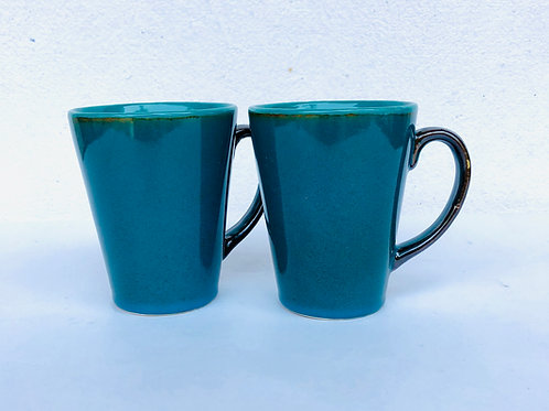 PotteryDen Coffee Time Mug Set of 2 - Peacock Green