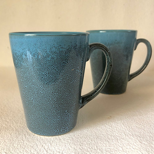 PotteryDen Coffee Time Mug Set of 2 - Blue