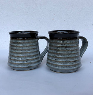 PotteryDen Coffee Time Mug Set of 2 - Rustic Brown