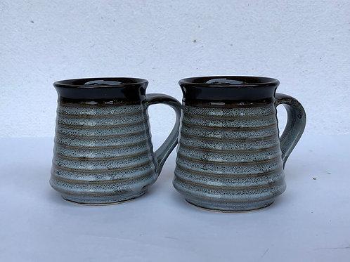 PotteryDen Coffee Time Mug Set of 2 - Rustic Brown
