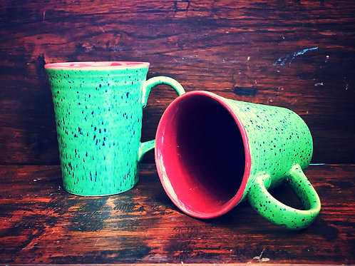 Spotted Green Coffee Mug - Set of 2