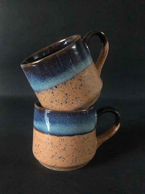 PotteryDen Rustic Brown Tea Cup Set of 2