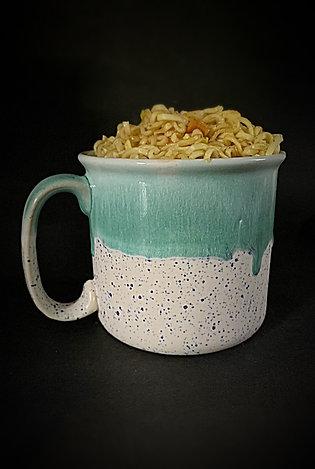 PotteryDen White and Pistachio Green Mug